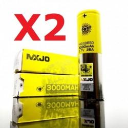 Pack X 2 Accu MXJO IMR 18650 3000mah 35A Jaune